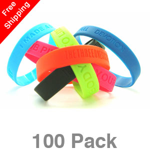 100 Debossed Silicone Wristbands