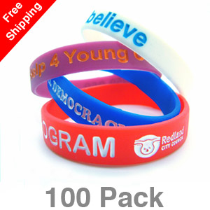 100 Infilled Silicone Wristbands