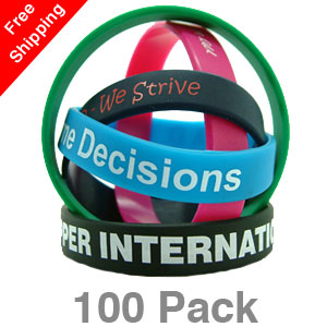 100 Printed Silicone Wristbands