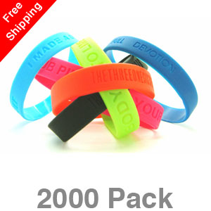2000 Debossed Silicone Wristbands