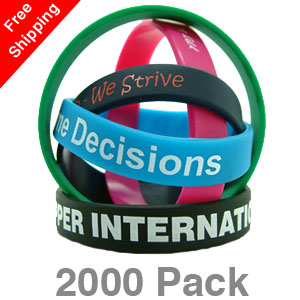 2000 Printed Silicone Wristbands