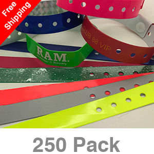 250 Custom Plastic Wristbands