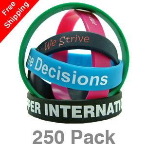 250 Printed Silicone Wristbands